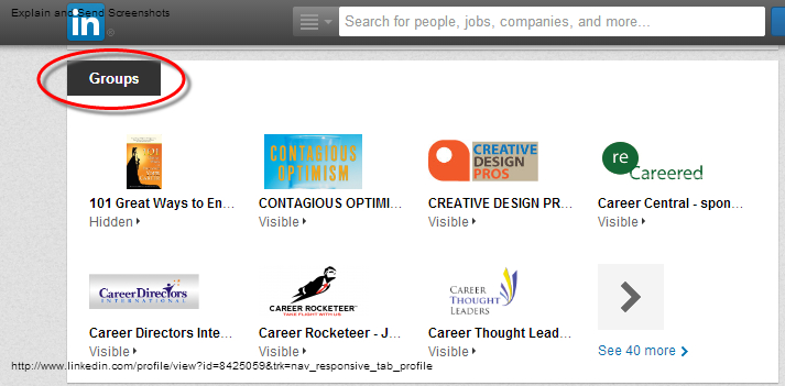 Screen shot of LinkedIn Groups section