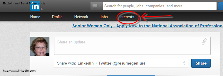 LinkedIn Interests Menu