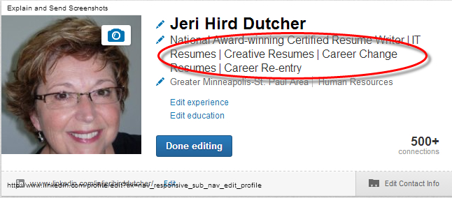LinkedIn professional headline.