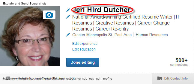 Name field in LinkedIn profile.