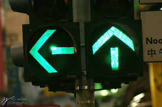 Confusing traffic lights pointing in different directions.